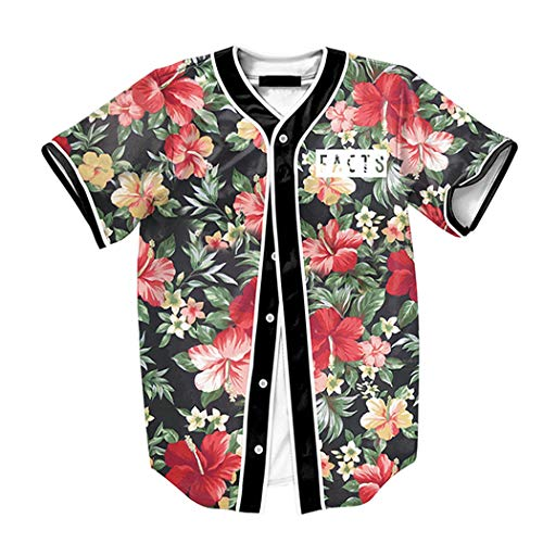 YSTDE Herren Kurzarm T-Shirt Hip Hop 3D Druck Baseball Hemd Tops (Hip Hop-t-shirt)