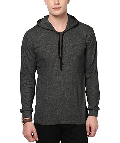 Katso Men's Cotton Hooded T-Shirt (Dark Grey_Small)