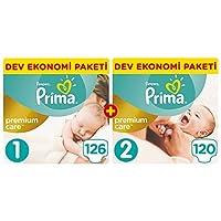Prima 00000006 Prima Bebek Bezi Premium Care Yenidoğan Aylık Fırsat Paketi (1 Beden 126 Adet + 2 Beden 120 Adet), Beyaz