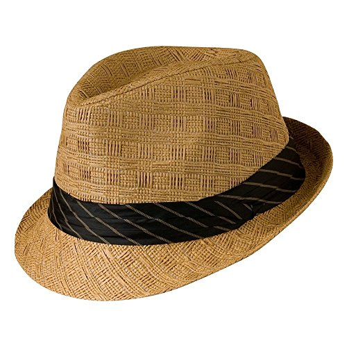 Natur Stroh Fedora Seidenband Trim British Vintage Style Gr. Medium, Natural Straw (Fedora Trim)