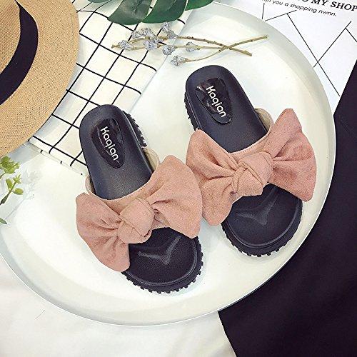 RUGAI-UE Cool pantofole donne estate gli studenti Anti-Skid piatto un Bow Tie Calzature Donna Pink