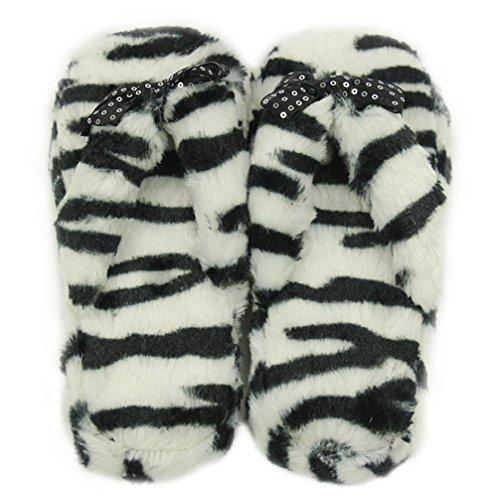 Gohom Pantoffeln Plüsch Hausschuhe Frühling Flip Flops Zehentrenner für Damen Mädchen aus Velvet Fasern Zebra