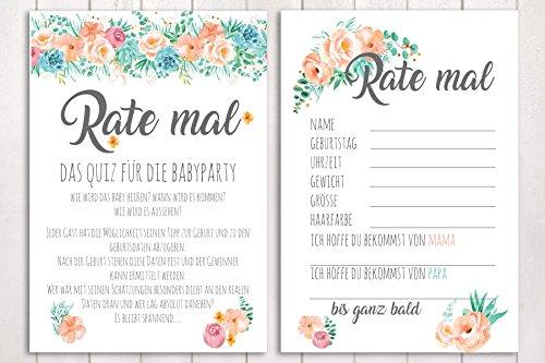 10 Karten Rate mal. Babyparty Spiel Blumenwiese