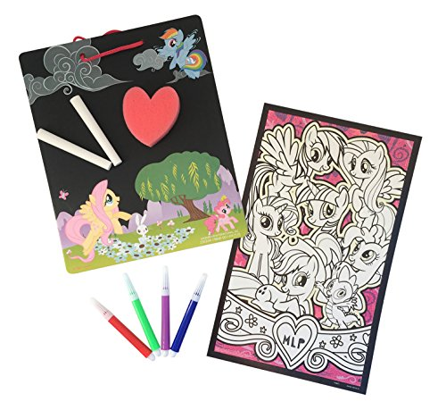 ity Set Bundle: Chalkboard with Chalk and Eraser, Glow In the Dark Coloring Poster and Markers, 2 Items (Glow In The Dark Chalk)