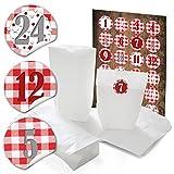 24 weiße Papiertüten 14 x 22 x 5,6 cm + 24 runde Aufkleber, Sticker 4 cm rot weiß karierte Zahlen 1 bis 24 für tolle Adventskalender zum selber basteln + befüllen