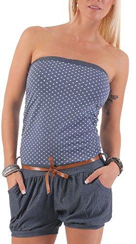 malito court Jumpsuit dans le Point Design Sans Bretelles 9648 Femme Taille Unique Bleu