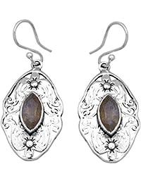 Labradorita Gemstone pendientes sólido 925plata de ley joyas ie21316