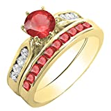 Damen Ring / Ehering 14 Karat Gelbgold Rund Red Echte Rubin & Diamant Damen Verlobungsring Ehering Set