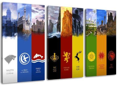 Gane of Thrones, banner design, 3 pc tela (Dimensione: 120x80 cm), stampa artistica di elevata qualità, come un murale. Più economico di un dipinto ad olio! ATTENZIONE NO poster!