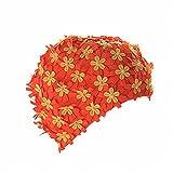 Damen Lange Haare Badekappen, Moresave Blume Petal Schwimmen Hut Stoff Bademütze für Erwachsene