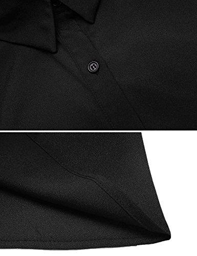 Damen Casual Hemdkleid mit Gürtel Halbarm Beiläufiges Minikleid Bluse Kleid V-Ausschnitt Shirts Kurz Kleider Festlich Cocktailkleid Revers Office Freizeit Party Abendmod Schwarz