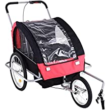 AIMADO Remolque Bicicleta Niños Infantil Plegable, 2 en 1, Carro con Barra de Paseo Amortiguadores para 1-2 Niños para Correr o Trotar, Con Barra Incluida y Kit de Footing (EU STOCK)