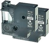 2 Kassetten D1 45021 weiß auf schwarz 12mm x 7m Schriftband kompatibel für DYMO LabelManager LM 100 150 160 200 210D 260 280 300 350 350D 360D 400 420P 450 500TS PC PC2 PnP LabelWriter LW 400 450 Duo