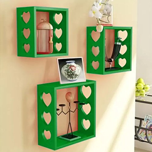 Onlineshoppee Fancy Wall Decor MDF Wall Shelf Size (LxBxH-10x4x10) inch - Green