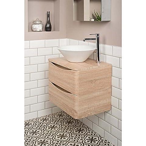Badezimmer 600 Waschtisch Unterschrank Eiche Hell Aufsatz Waschbecken Rund Osaka