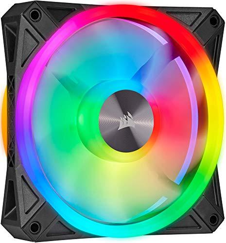 Corsair iCUE QL120 RGB, 120-mm-RGB-LED-PWM-Lüfter (34 Einzeln Ansteuerbare RGB-LEDs, Schwindigkeiten Bis zu 1,500 U/Min, Geräuscharm) Einzelpackung - schwarz