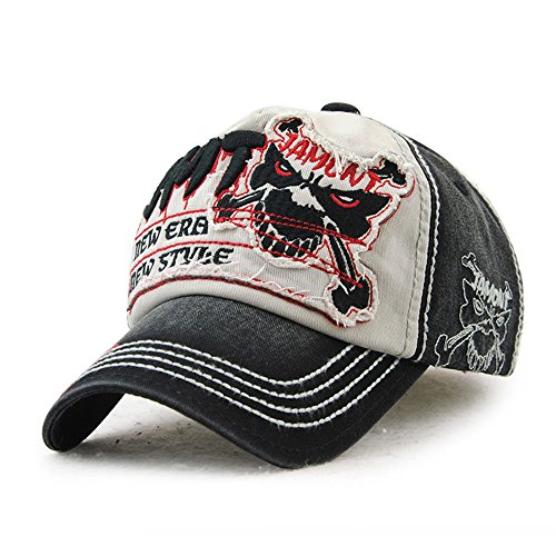 Vintage Cap (DUSISHIDAN Baumwolle Baseball Cap aus gewaschener Denim Vintage Fight Skull Distressed verstellbar Kappe für Damen und Herren)