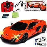 Siva McLaren 675LT Coupe Orange 2,4 GHz RC Funkauto mit Beleuchtung und Akkupack 1/24 Modell Auto mit individiuellem Wunschkennzeichen