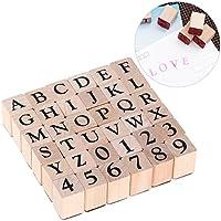 ULTNICE Tampons en Bois Alphabet Timbres-poste Nombre de timbres lettres en caoutchouc 26 lettres majuscules et 10 chiffres
