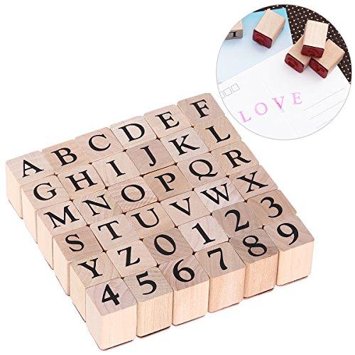 ULTNICE Alphabet Briefmarken Set Holz Stempel Gummi Anzahl Briefmarken 26 Großbuchstaben und 10 Zahlen