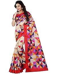 Women's Bhagalpuri Art Silk Traditional Saree Unstitched Blouse Design (BHAGALPURI SAREE 33_Multi Color)