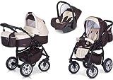 PREMIUM 3 en 1 Carrito PASSO convertible con capazo, saco para las piernas, bolsa para pañales, capota y silla de coche (grupo 0+) / 6 diseños de color disponibles,