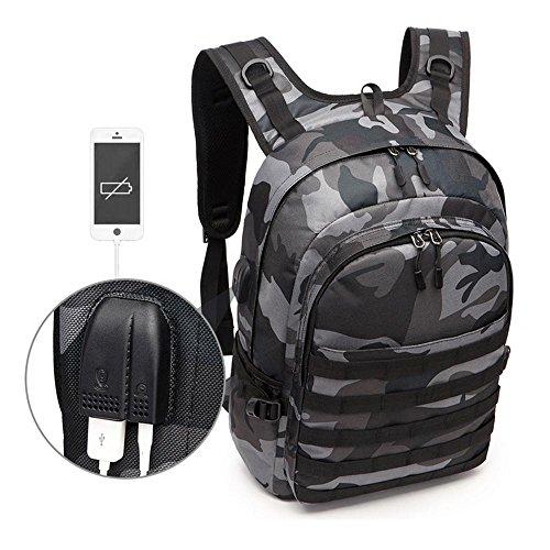 Kobwa antifurto militare tattico zaino, borsa per computer portatile zaino college school bookbag, con porta di ricarica usb e auricolari. per uomini e donne, adatta per 39,6cm laptop e notebook