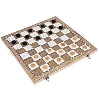 Almabner 3 In 1 Chess Board Set, Wooden Adult Kids Toy Portable Backgammon Checkers Board, Traditional Classic Deluxe Magnetic Chess Games