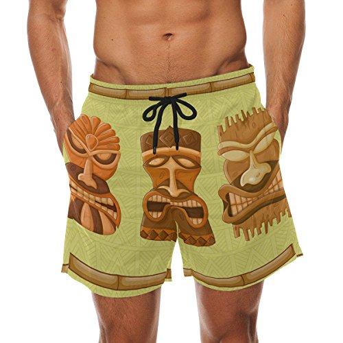 de650866f5 COOSUN Hawaiian Tiki Tribal Mask Strand Board Shorts Quick Dry Badehose  Groß mehrfarbig