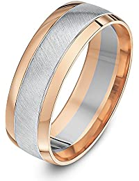 Theia Two Colours 9ct White and Rose Gold Court Shape Matt Centre 7mm Wedding Ring