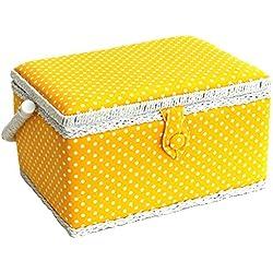 Medio Lunares Amarillos Cesto de la Costura 26 x 19 x 15cm Sewing Online FM-002