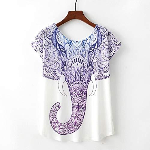 ZCYTIM Novedad de Verano Camiseta para Mujer Harajuku Kawaii Lindo Estilo Elefante Camiseta Manga Corta O-Cuello Tops Tamaño