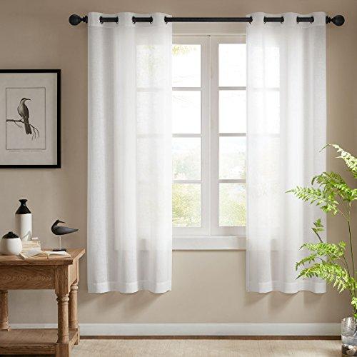 Ösenschal Voile Vorhang in Leinen-Optik Leinenstruktur Ösenvorhang Gardine mit Ösen Solid Sheer Wohnzimmer Elegant, Off White (2er-Set, je 200x99cm)