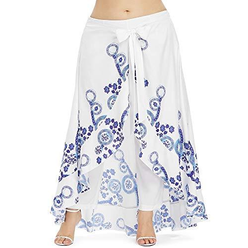 Yangyme Herrlich Plus Size Lässige Röckelhose für Frauen Länge Jersey Arbeit Büro Abend Flared High Rise Culottes Elastic (Color : White, Size : XL)