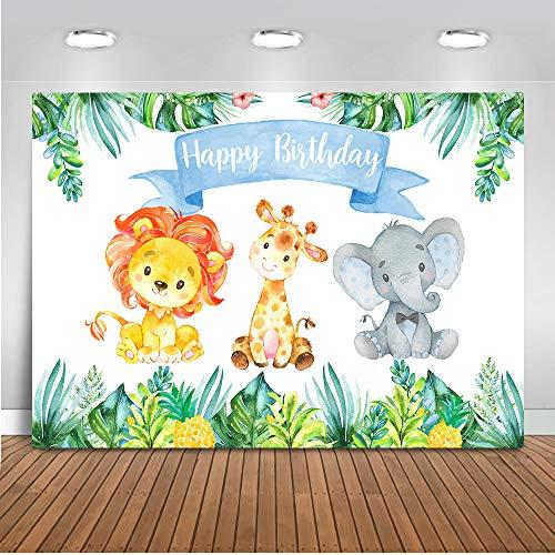 Mehofoto Dschungel-Safari-Foto-Hintergrund 7x5ft Vinyl Alles Gute zum Geburtstag Wald Netter Elefant und Löwe Hintergründe Tier 1. Geburtstags-Party-Dekor-Fotografie Hintergrund (Zusammenklappbar 5x7 Hintergrund)