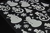 Fensterbilder Fensterdeko Schneeflocken Fenstersticker Aufkleber Design für Winter und Weihnachten Kinder in glitzer selbstklebend (39x Aufkleber Schneemann)