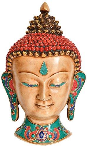 Señor Buda colgante de pared máscara–tibetano budista–Estatua de resina