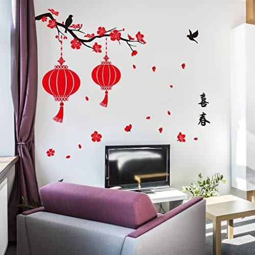 Neujahrs Chinesische Wind Wand Stick Zweig Rote Laterne Glücklicher Frühling Wohnzimmer Home Festliche Tapete 60 * 90 cm -