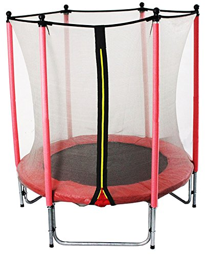 *GSD Kindertrampolin Rot 15796 mit Longpole-Netzstangen und 1,40 m Ø für absoluten Indoorspaß*