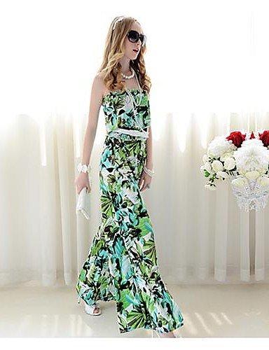 GSP-Rosa Doll a fascia con stampa floreale Pieghe vita sottile gamba larga tuta , green-s , green-s