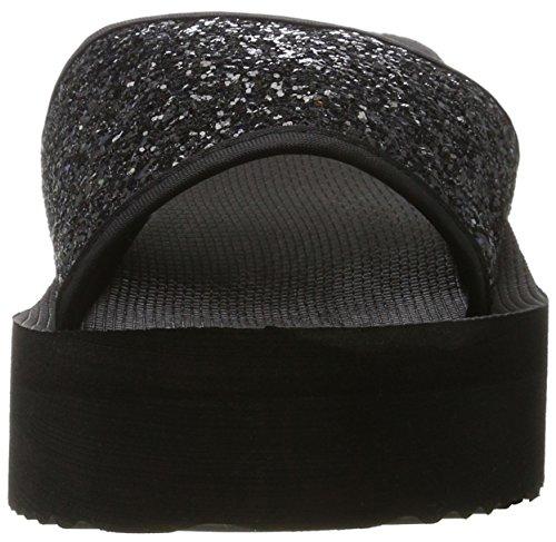 flip*flop Poolwedge Glitter, Sandales Plateforme Femme Schwarz (Black)