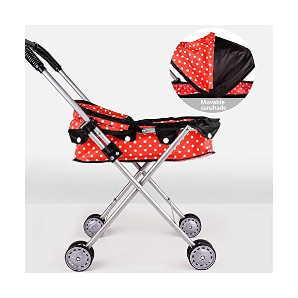 Freedomanoth Baby Dolls Pram Pink Children's Doll Trolley DIY Assembled Baby Buggy Portable Doll Carrier Pram Boys And Girls Toy Cart Role Pretend Play Nursery Toys Freedomanoth Portable storage design: It can be brought to the supermarket with the baby, which does not occupy place. It is suitable for travel. Large capacity storage space: It can store some small snacks or small toys for baby going out. Sturdy and durable, exquisite design: It features a thickened iron frame and a exquisite design, fine craftsmanship and selected high-quality materials, and environmentally friendly lacquering process, so that baby can rest assured to play. 4