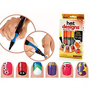 Velkro 6 Color Starter Kit Hot Design Nail Art Basic Kit - Red Blue Green Black White & Pink Salon Polish Pen Brush
