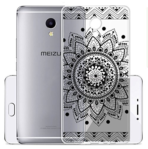 Cover Per Meizu M5S 5,2 pollici,Sunrive® Custodia Case in molle Trasparente TPU silicone Morbida Flessibile Pelle Antigraffio protettiva(tpu Fiore nero)