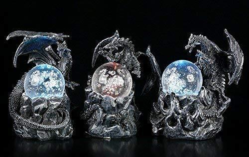 Schwarzes Drachen Figuren Set mit LED Glaskugeln   Fantasy Gothic Deko