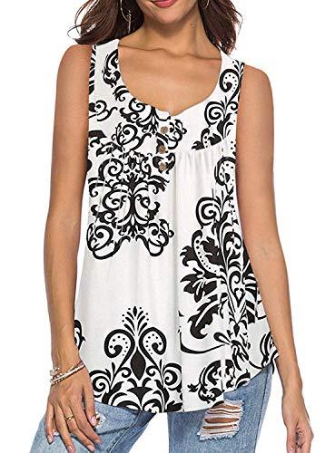KISSMODA Plus Size Tshirts Bluse Damen Tops Sommerurlaub Weiß XXL (Und Plus Größe Tops Blusen)
