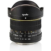 Opteka 6.5mm f/3.5HD asféricas lente de ojo de pez para Canon EOS 70d, 60d, 60Da, 50d, 7d, 6d, 5d, 5DS, 1Ds, 7d, 6d, 1200d, 1100d, 760d, 750d, 700d, 600d, 550d, 500d, 450d, 400d, 350d 100d y cámaras digitales SLR
