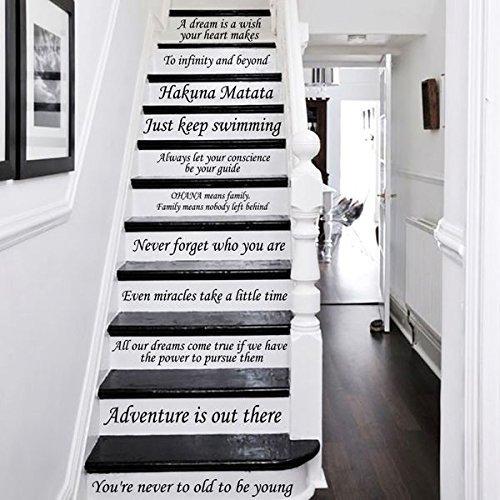 Buchstaben Wand Decor Sticker Disney Treppe Aufkleber Zitate Stairway Aufkleber Zitat Schritte Vinyl Aufkleber Disney Schriftzug Familie Treppe Aufkleber (Hello Kitty Aufkleber Für Die Wand)