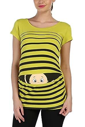 Witzige süße Umstandsmode T-Shirt mit Motiv Schwangerschaft Geschenk – Kurzarm (L, Olive)