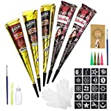 Luckyfine Tatuaggi Temporanei 5 PCS, 3 Colori Sicuro e Impermeabile Tatuaggio di Pittura indiana, 1 Bottiglia, 4 pcs Ugelli, 1 pennello, 1 raschietto, 4 modelli e 2 guanti